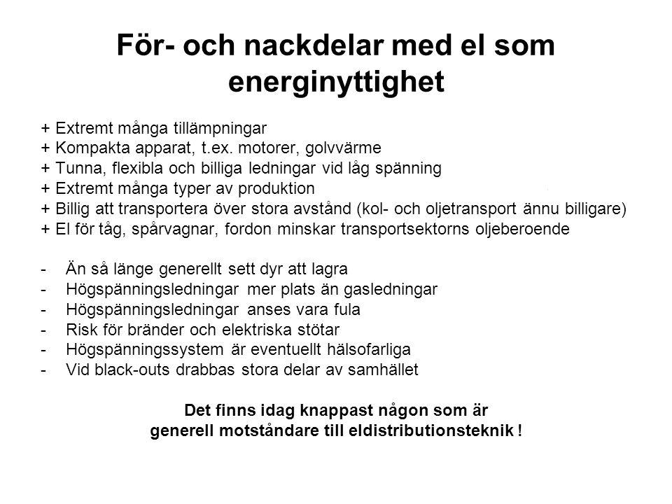 För- och nackdelar med el som energinyttighet + Extremt många tillämpningar + Kompakta apparat, t.ex. motorer, golvvärme + Tunna, flexibla och billiga