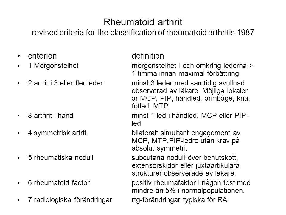 Rheumatoid arthrit revised criteria for the classification of rheumatoid arthritis 1987 criteriondefinition 1 Morgonstelhetmorgonstelhet i och omkring