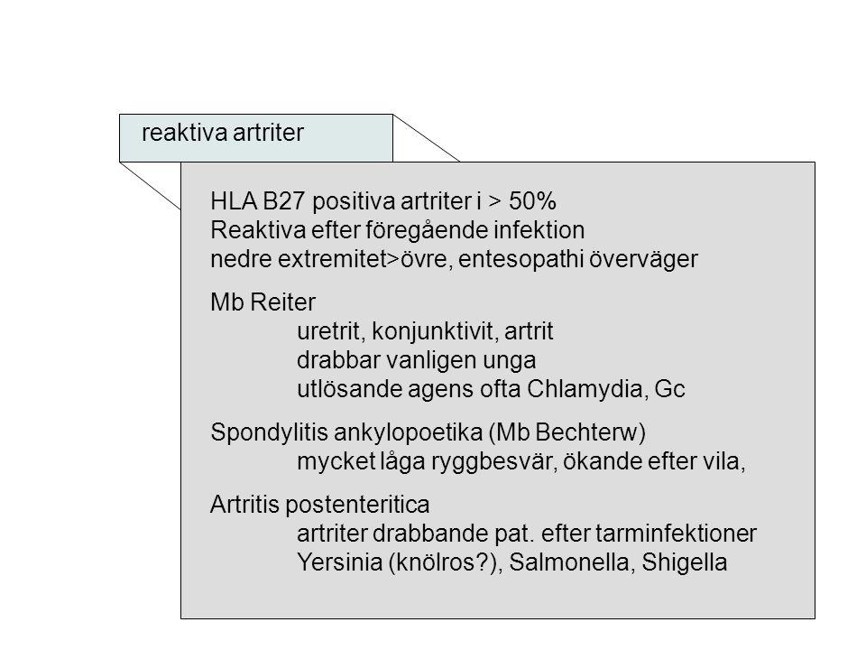 reaktiva artriter HLA B27 positiva artriter i > 50% Reaktiva efter föregående infektion nedre extremitet>övre, entesopathi överväger Mb Reiter uretrit