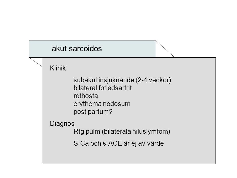 akut sarcoidos Klinik subakut insjuknande (2-4 veckor) bilateral fotledsartrit rethosta erythema nodosum post partum? Diagnos Rtg pulm (bilaterala hil
