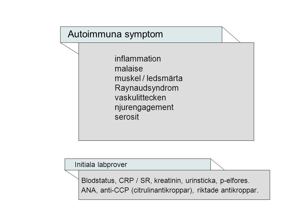 Kliniska varningstecken Artriter kombinerat med exanthem, ljuskänslighet, håravfall, njurpåverkan (nefrit) leuko-trombocytopeni.