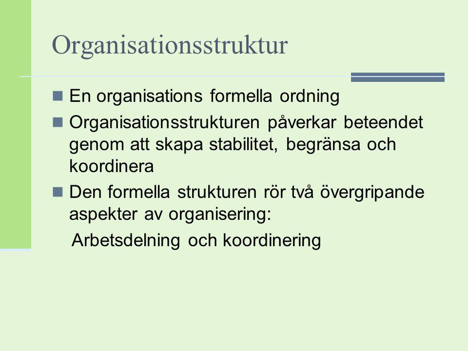 Organisationsstruktur En organisations formella ordning Organisationsstrukturen påverkar beteendet genom att skapa stabilitet, begränsa och koordinera
