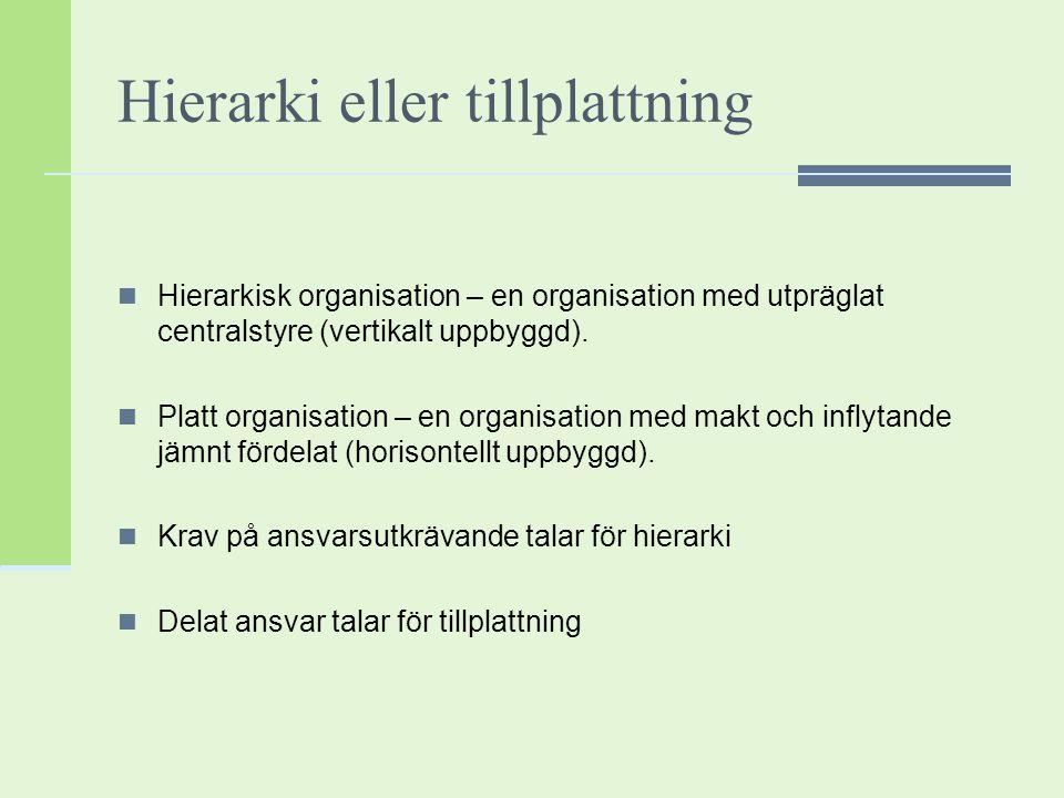 Hierarki eller tillplattning Hierarkisk organisation – en organisation med utpräglat centralstyre (vertikalt uppbyggd). Platt organisation – en organi