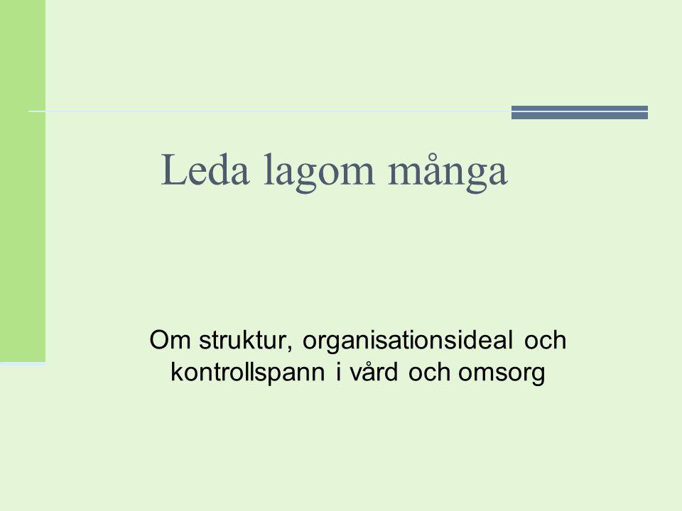 Organisationsstruktur Samlat begrepp för hur Arbetsdelning Fördelning av auktoritet och styrning Samordning och kontroll av uppgifter sker i organisationer