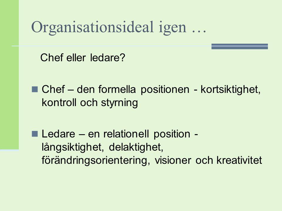 Organisationsideal igen … Chef eller ledare? Chef – den formella positionen - kortsiktighet, kontroll och styrning Ledare – en relationell position -