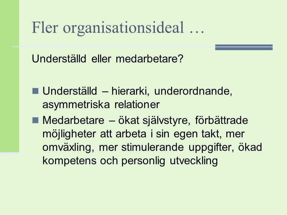Fler organisationsideal … Underställd eller medarbetare? Underställd – hierarki, underordnande, asymmetriska relationer Medarbetare – ökat självstyre,