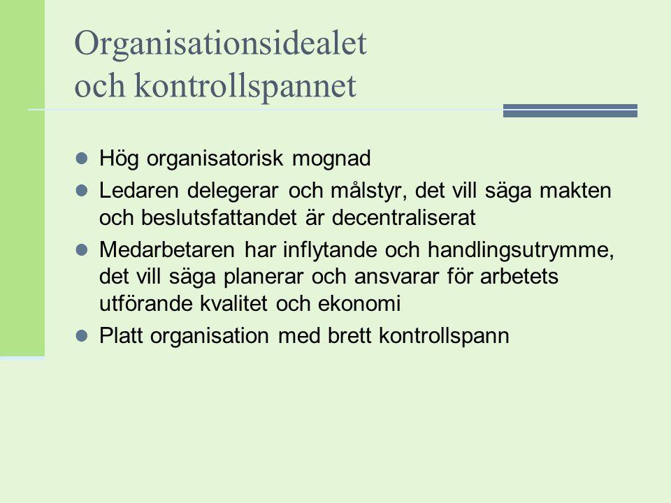 Organisationsidealet och kontrollspannet Hög organisatorisk mognad Ledaren delegerar och målstyr, det vill säga makten och beslutsfattandet är decentr