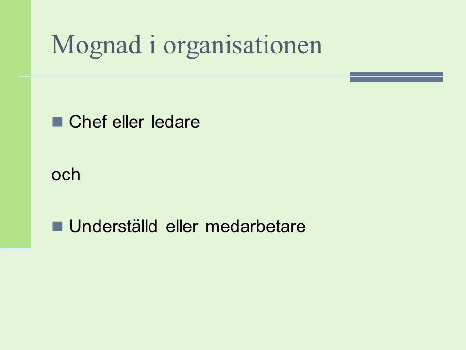 Mognad i organisationen Chef eller ledare och Underställd eller medarbetare