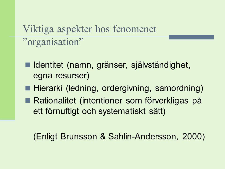 """Viktiga aspekter hos fenomenet """"organisation"""" Identitet (namn, gränser, självständighet, egna resurser) Hierarki (ledning, ordergivning, samordning) R"""