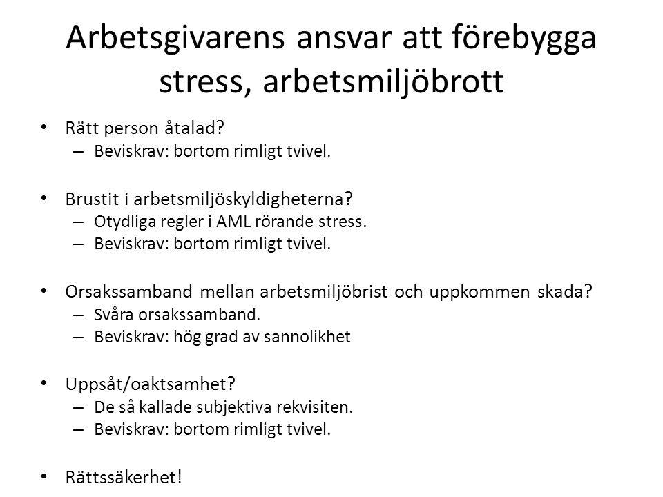 Arbetsgivarens ansvar att förebygga stress, arbetsmiljöbrott Rätt person åtalad.