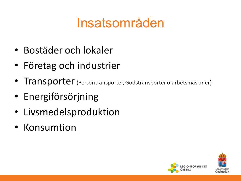 Insatsområden Bostäder och lokaler Företag och industrier Transporter (Persontransporter, Godstransporter o arbetsmaskiner) Energiförsörjning Livsmede