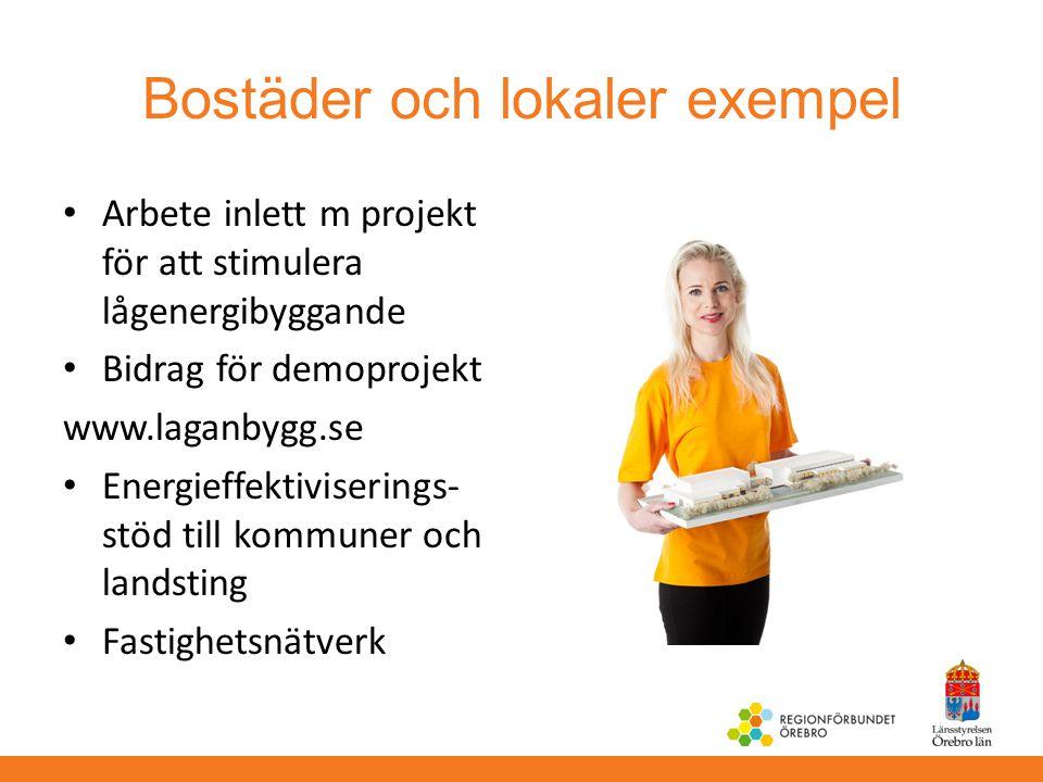 Bostäder och lokaler exempel Arbete inlett m projekt för att stimulera lågenergibyggande Bidrag för demoprojekt www.laganbygg.se Energieffektivisering