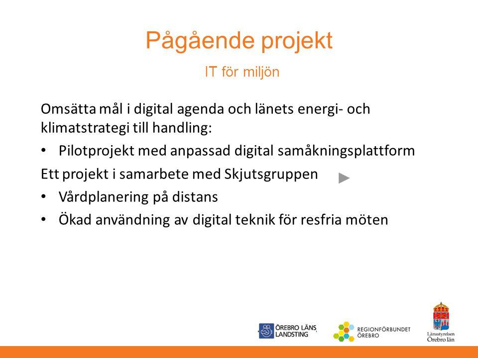 Pågående projekt IT för miljön Omsätta mål i digital agenda och länets energi- och klimatstrategi till handling: Pilotprojekt med anpassad digital sam