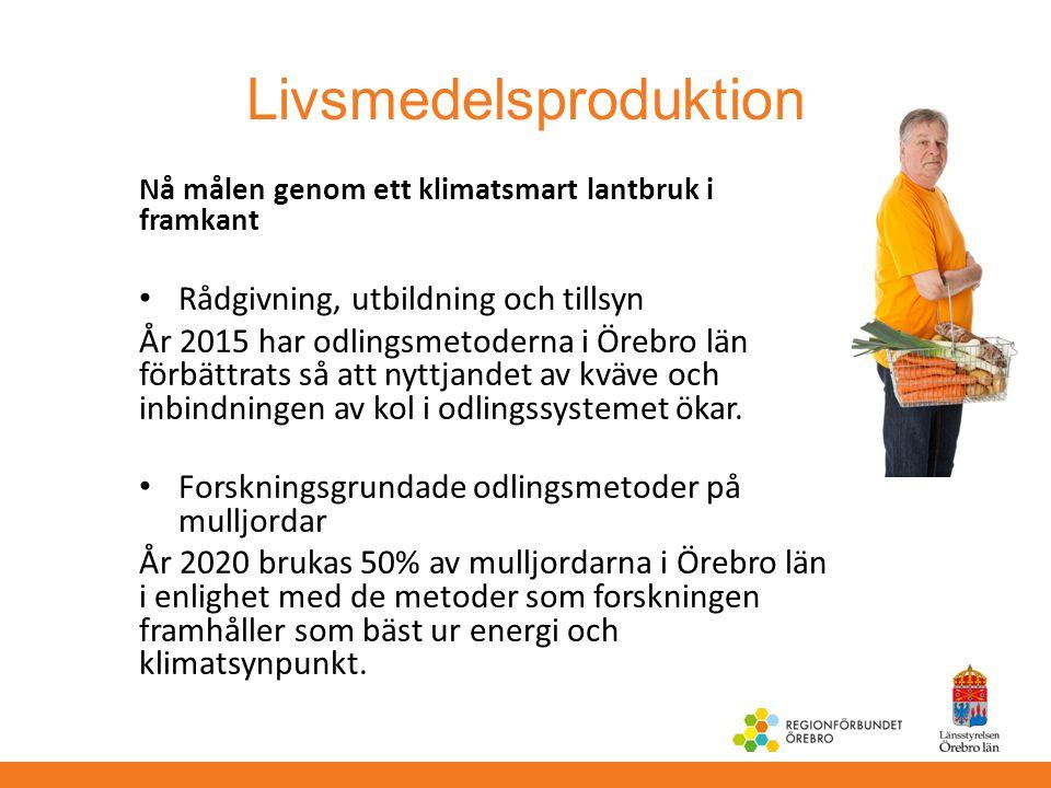 Livsmedelsproduktion Nå målen genom ett klimatsmart lantbruk i framkant Rådgivning, utbildning och tillsyn År 2015 har odlingsmetoderna i Örebro län f