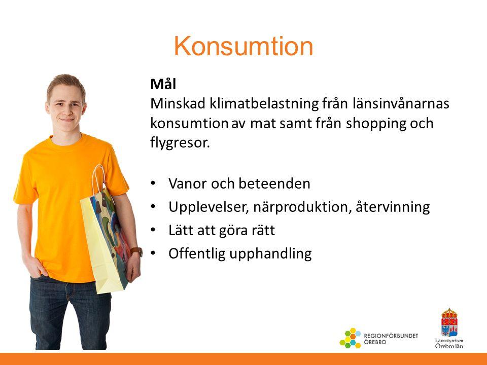 Konsumtion Mål Minskad klimatbelastning från länsinvånarnas konsumtion av mat samt från shopping och flygresor. Vanor och beteenden Upplevelser, närpr