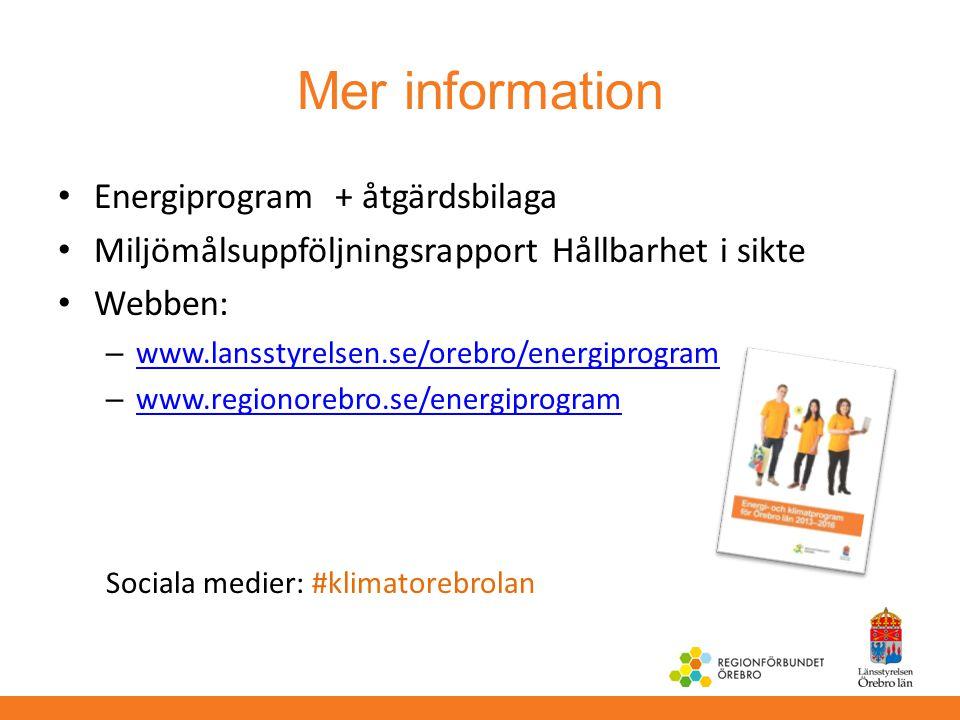 Mer information Energiprogram + åtgärdsbilaga Miljömålsuppföljningsrapport Hållbarhet i sikte Webben: – www.lansstyrelsen.se/orebro/energiprogram www.