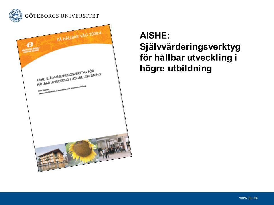 www.gu.se AISHE: Självvärderingsverktyg för hållbar utveckling i högre utbildning