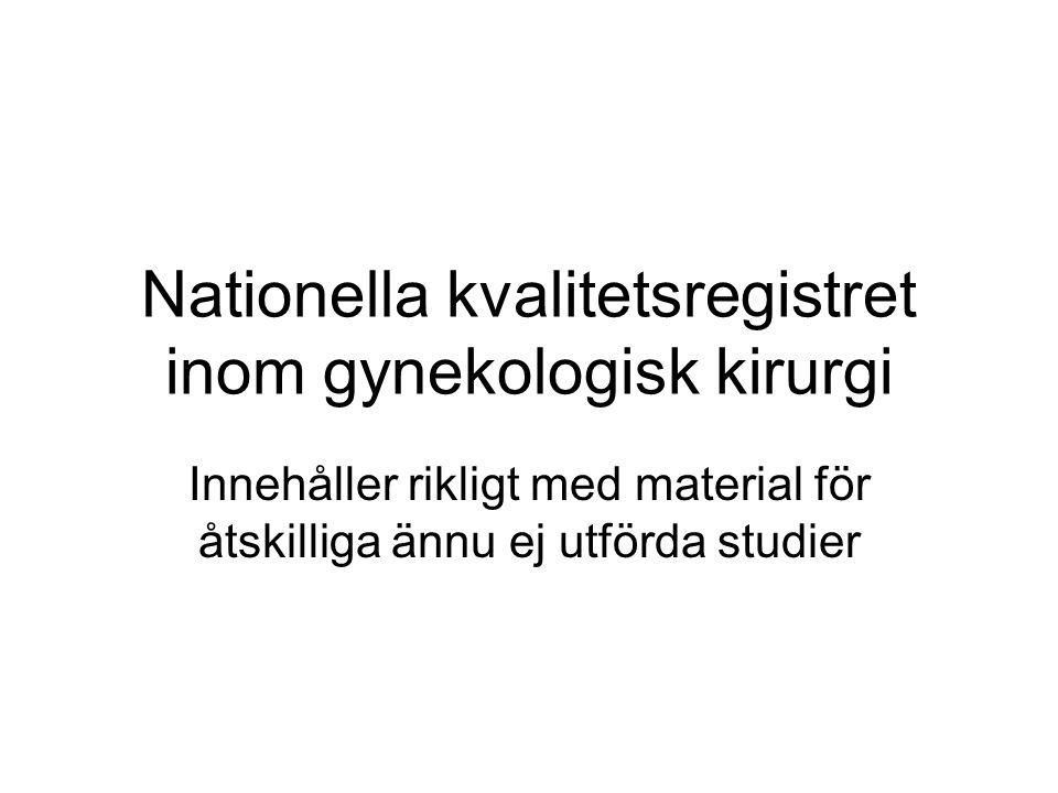 Nationella kvalitetsregistret inom gynekologisk kirurgi Innehåller rikligt med material för åtskilliga ännu ej utförda studier