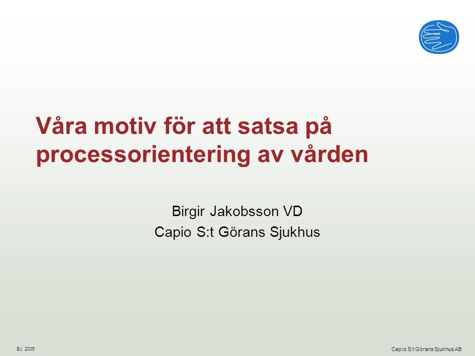 BJ 2005 Capio S:t Görans Sjukhus AB Capio S:t Görans Sjukhus i korthet Medelstort akutsjukhus Ligger på Kungsholmen sedan 1888 Ett av sex akutsjukhus i Stockholms län (1,9 miljoner innevånare) Huvudsaklig inriktning på akut bassjukvård - internmedicin, ortopedi, kirurgi.