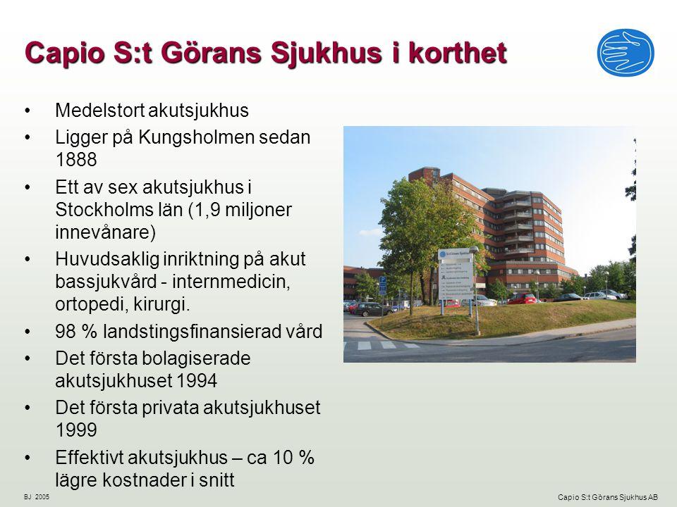 BJ 2005 Capio S:t Görans Sjukhus AB År 2004 hade Capio S:t Göran en omsättning på 1,2 miljarder SEK.