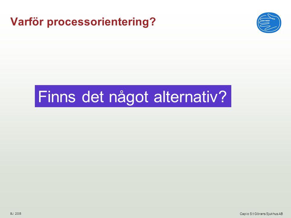BJ 2005 Capio S:t Görans Sjukhus AB Varför processorientering? Finns det något alternativ?