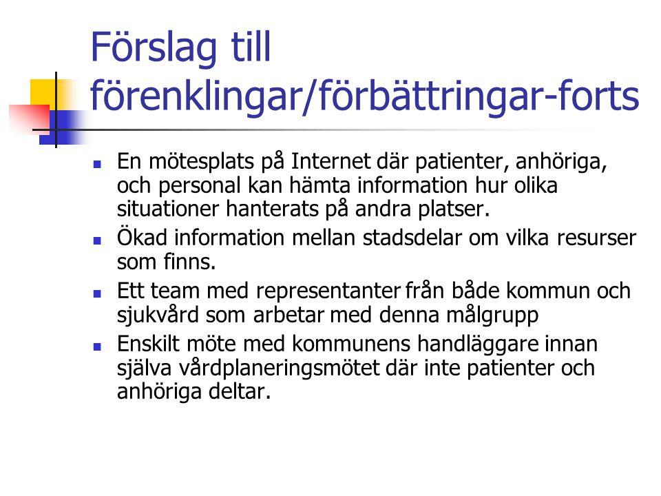 Förslag till förenklingar/förbättringar-forts En mötesplats på Internet där patienter, anhöriga, och personal kan hämta information hur olika situatio