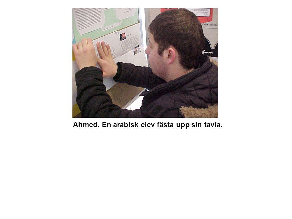 Ahmed. En arabisk elev fästa upp sin tavla.