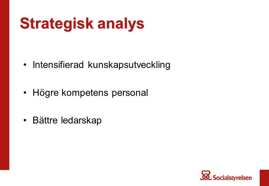 Strategisk analys Intensifierad kunskapsutveckling Högre kompetens personal Bättre ledarskap