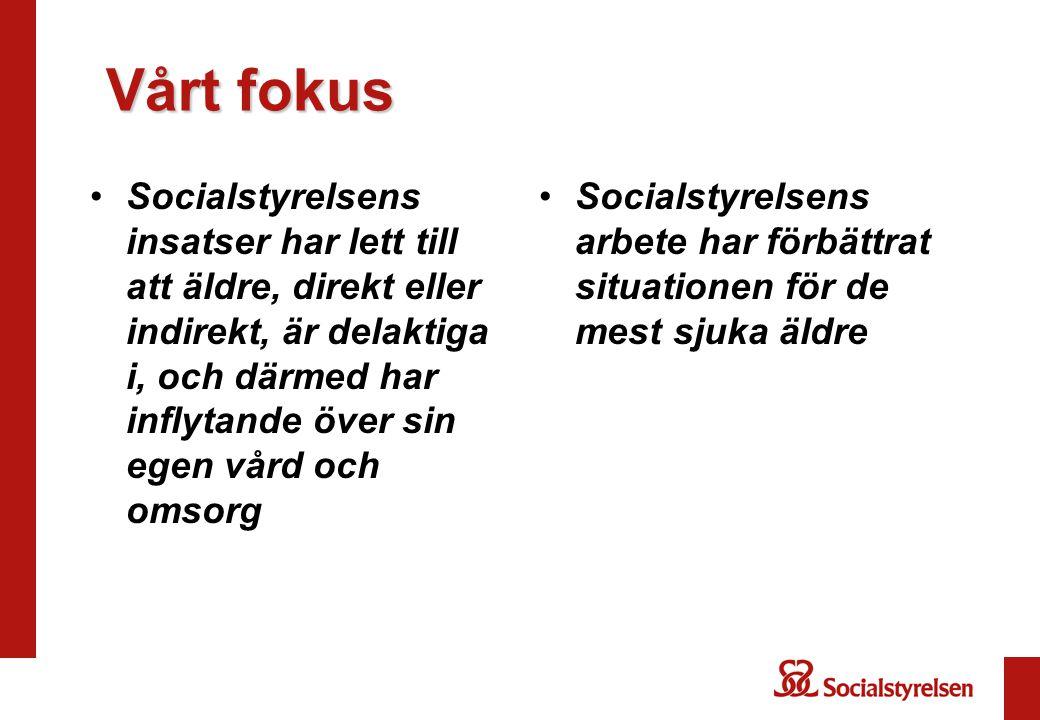 Vårt fokus Vårt fokus Socialstyrelsens insatser har lett till att äldre, direkt eller indirekt, är delaktiga i, och därmed har inflytande över sin egen vård och omsorg Socialstyrelsens arbete har förbättrat situationen för de mest sjuka äldre