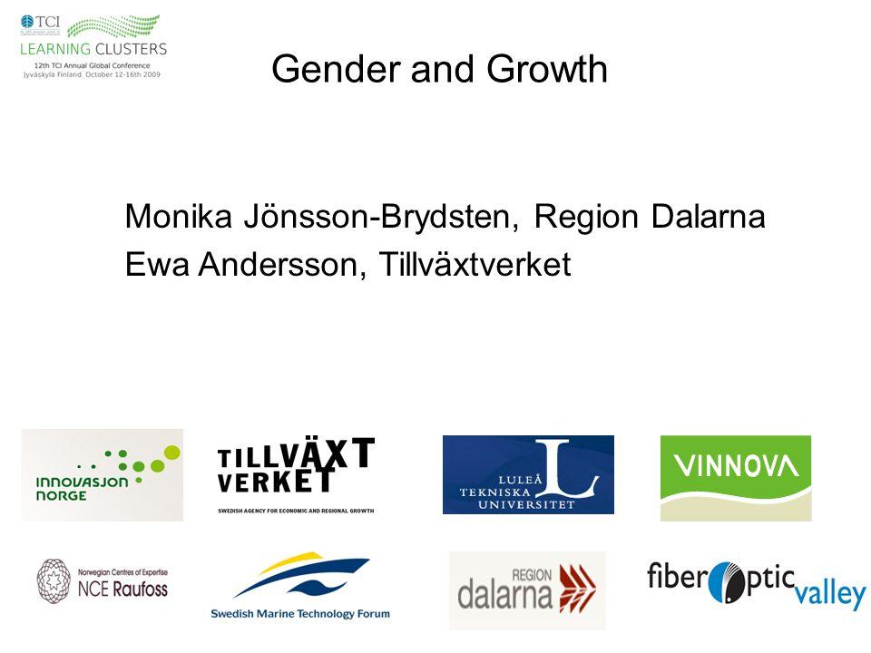Gender and Growth Monika Jönsson-Brydsten, Region Dalarna Ewa Andersson, Tillväxtverket