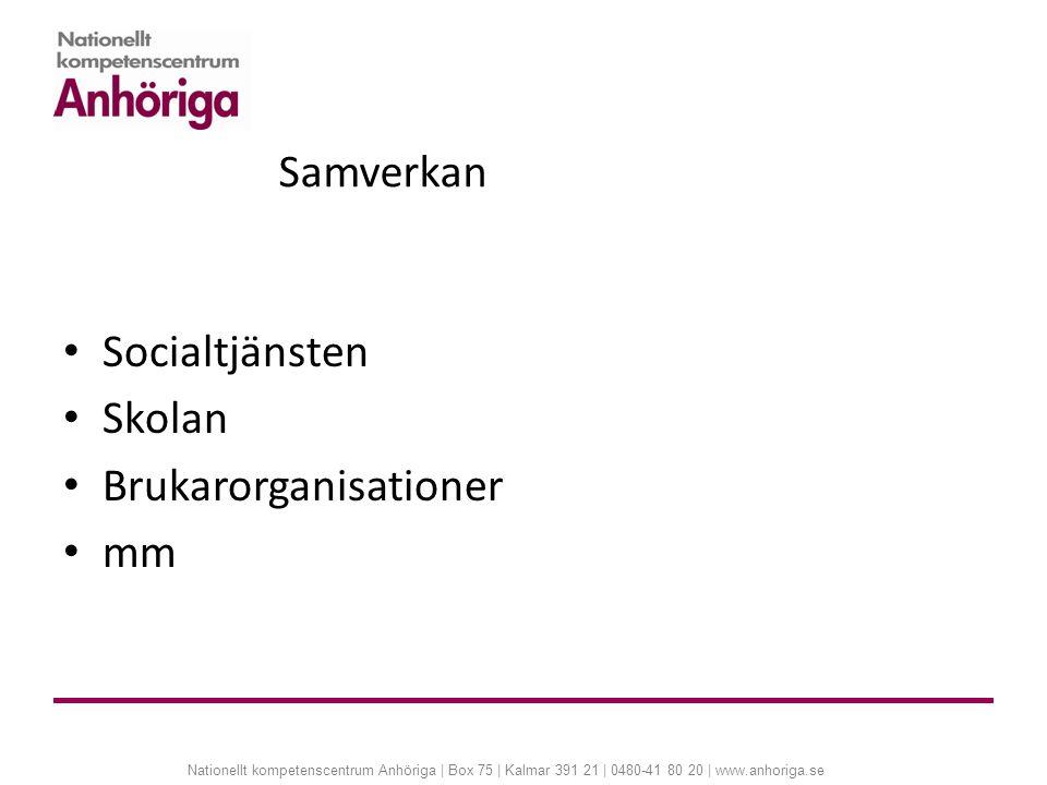 Nationellt kompetenscentrum Anhöriga | Box 75 | Kalmar 391 21 | 0480-41 80 20 | www.anhoriga.se Samverkan Socialtjänsten Skolan Brukarorganisationer m