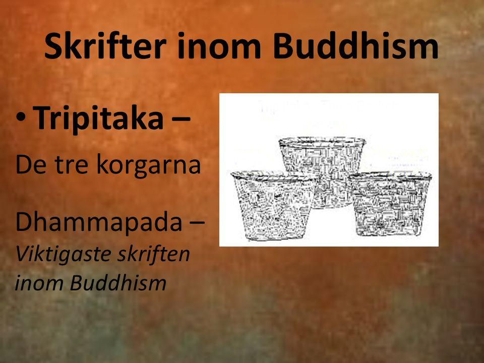Skrifter inom Buddhism Tripitaka – De tre korgarna Dhammapada – Viktigaste skriften inom Buddhism