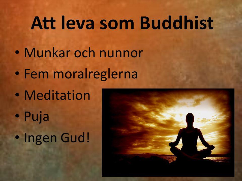 Att leva som Buddhist Munkar och nunnor Fem moralreglerna Meditation Puja Ingen Gud!