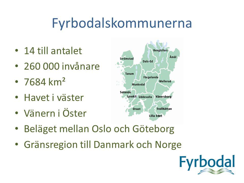 Fyrbodalskommunerna 14 till antalet 260 000 invånare 7684 km² Havet i väster Vänern i Öster Beläget mellan Oslo och Göteborg Gränsregion till Danmark