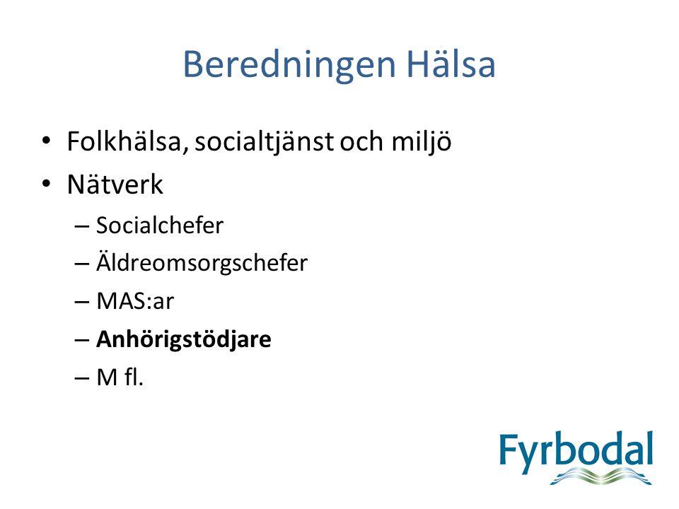 Beredningen Hälsa Folkhälsa, socialtjänst och miljö Nätverk – Socialchefer – Äldreomsorgschefer – MAS:ar – Anhörigstödjare – M fl.