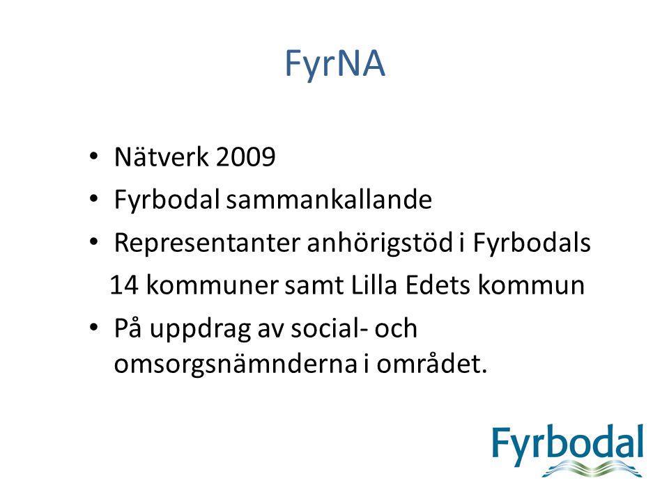 FyrNA Nätverk 2009 Fyrbodal sammankallande Representanter anhörigstöd i Fyrbodals 14 kommuner samt Lilla Edets kommun På uppdrag av social- och omsorg