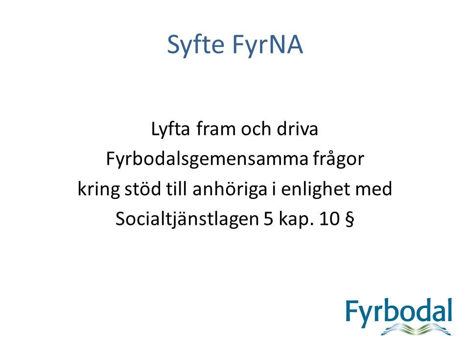 Syfte FyrNA Lyfta fram och driva Fyrbodalsgemensamma frågor kring stöd till anhöriga i enlighet med Socialtjänstlagen 5 kap. 10 §