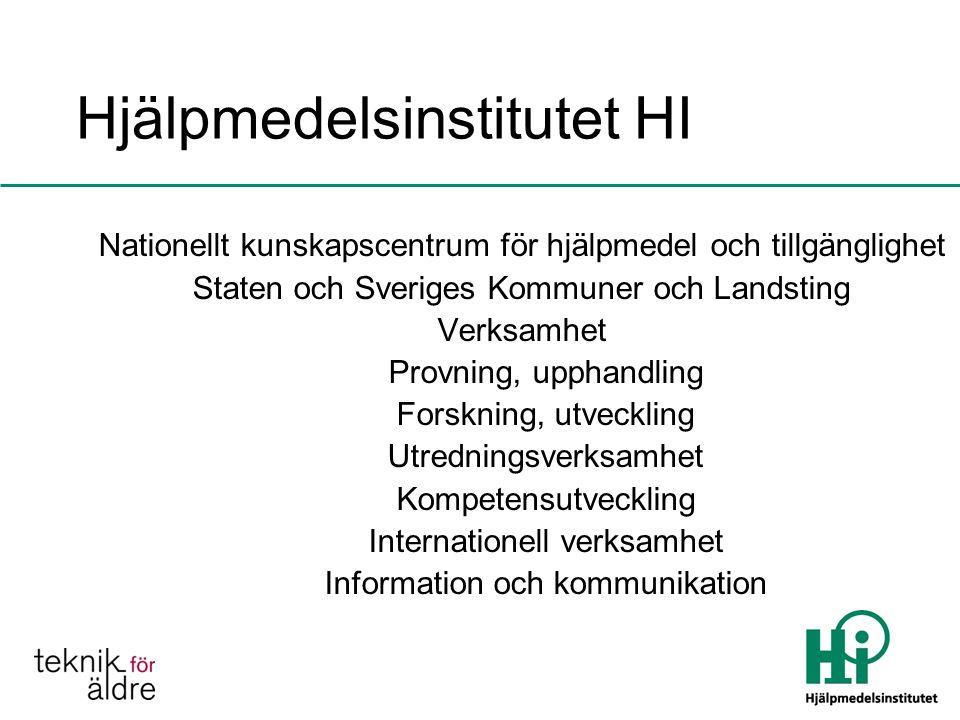 Hjälpmedelsinstitutet HI Nationellt kunskapscentrum för hjälpmedel och tillgänglighet Staten och Sveriges Kommuner och Landsting Verksamhet Provning, upphandling Forskning, utveckling Utredningsverksamhet Kompetensutveckling Internationell verksamhet Information och kommunikation