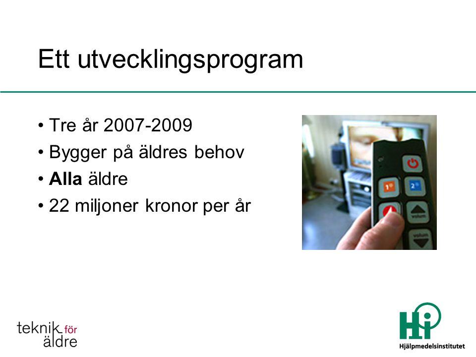 Ett utvecklingsprogram Tre år 2007-2009 Bygger på äldres behov Alla äldre 22 miljoner kronor per år