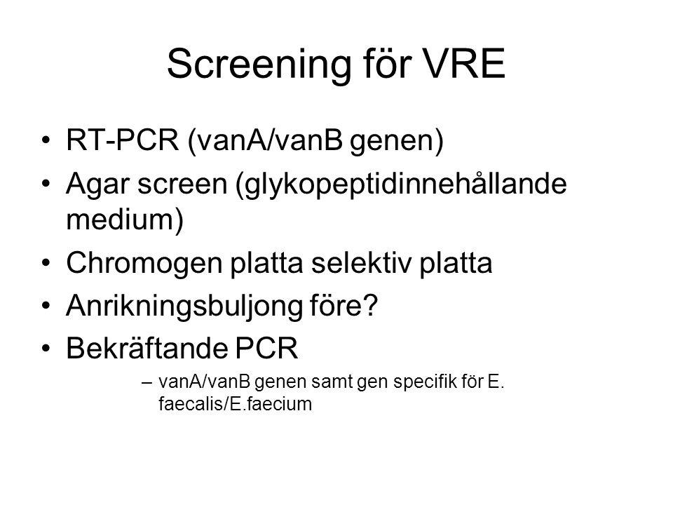 Screening för VRE RT-PCR (vanA/vanB genen) Agar screen (glykopeptidinnehållande medium) Chromogen platta selektiv platta Anrikningsbuljong före.