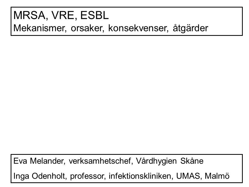 MRSA, VRE, ESBL Mekanismer, orsaker, konsekvenser, åtgärder Eva Melander, verksamhetschef, Vårdhygien Skåne Inga Odenholt, professor, infektionskliniken, UMAS, Malmö