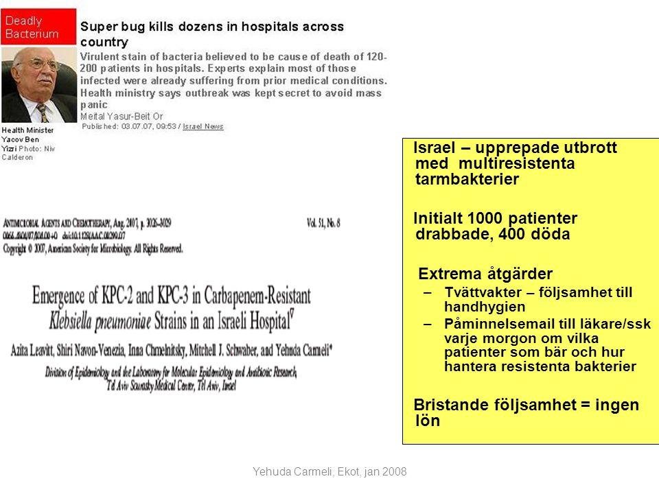 Yehuda Carmeli, Ekot, jan 2008 Israel – upprepade utbrott med multiresistenta tarmbakterier Initialt 1000 patienter drabbade, 400 döda Extrema åtgärder –Tvättvakter – följsamhet till handhygien –Påminnelsemail till läkare/ssk varje morgon om vilka patienter som bär och hur hantera resistenta bakterier Bristande följsamhet = ingen lön