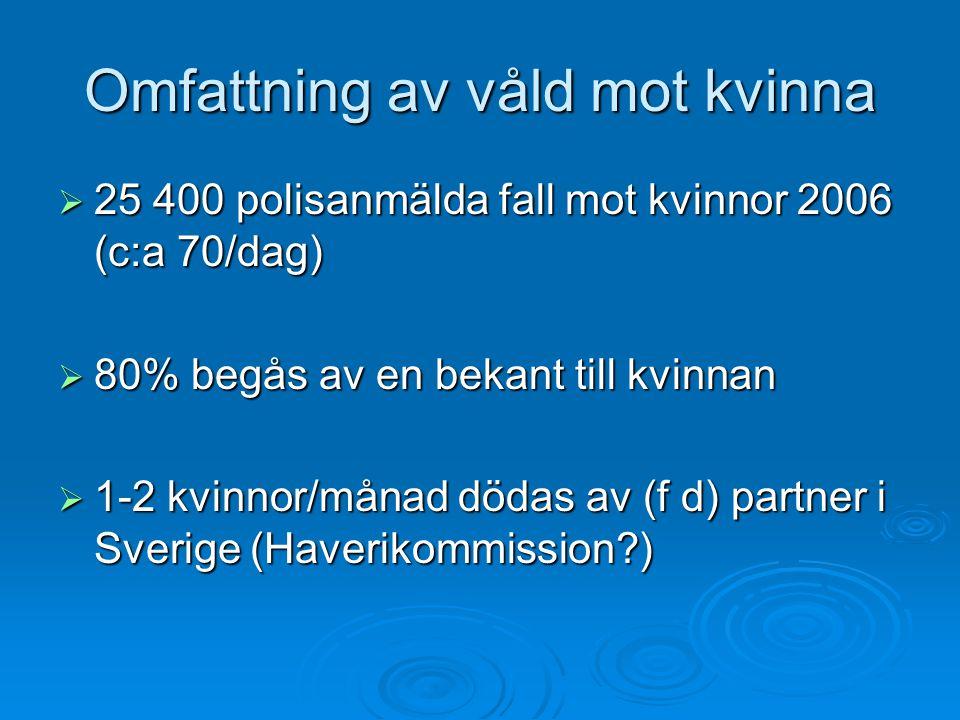 Omfattning av våld mot kvinna  25 400 polisanmälda fall mot kvinnor 2006 (c:a 70/dag)  80% begås av en bekant till kvinnan  1-2 kvinnor/månad dödas av (f d) partner i Sverige (Haverikommission?)