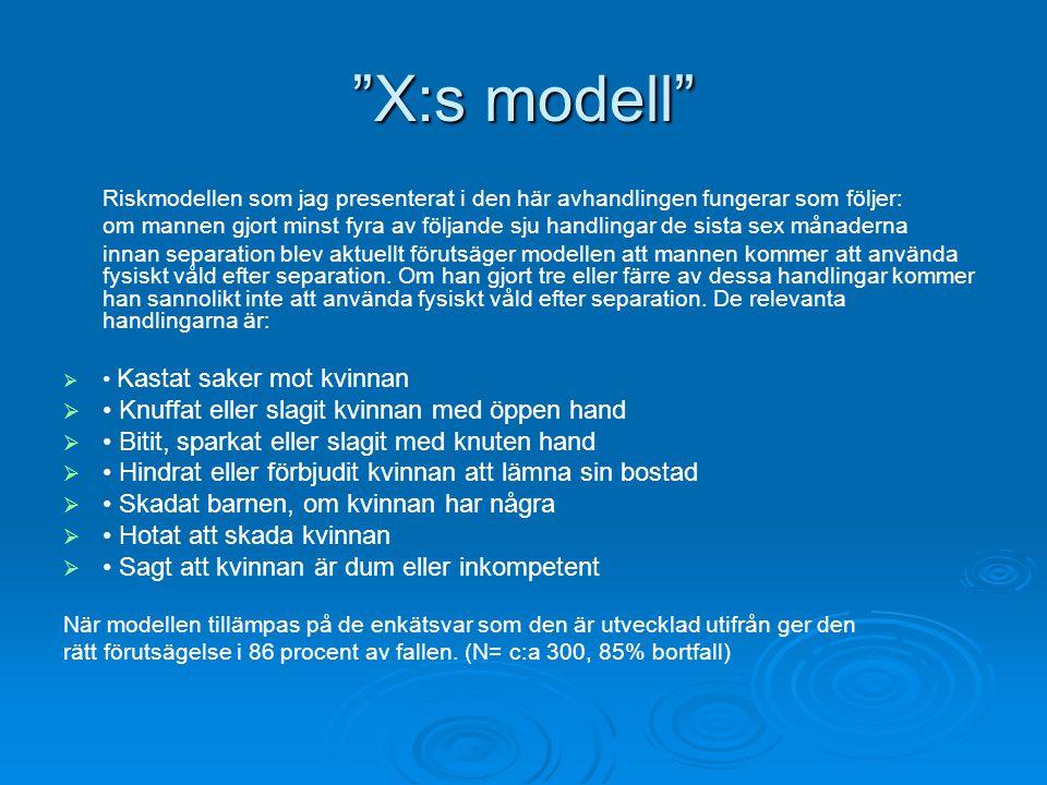 X:s modell Riskmodellen som jag presenterat i den här avhandlingen fungerar som följer: om mannen gjort minst fyra av följande sju handlingar de sista sex månaderna innan separation blev aktuellt förutsäger modellen att mannen kommer att använda fysiskt våld efter separation.