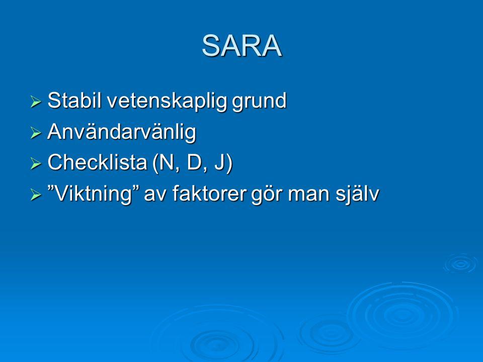 SARA  Stabil vetenskaplig grund  Användarvänlig  Checklista (N, D, J)  Viktning av faktorer gör man själv