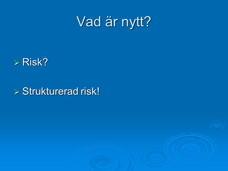 Vad är nytt?  Risk?  Strukturerad risk!