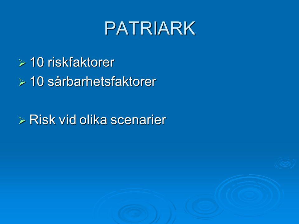 PATRIARK  10 riskfaktorer  10 sårbarhetsfaktorer  Risk vid olika scenarier