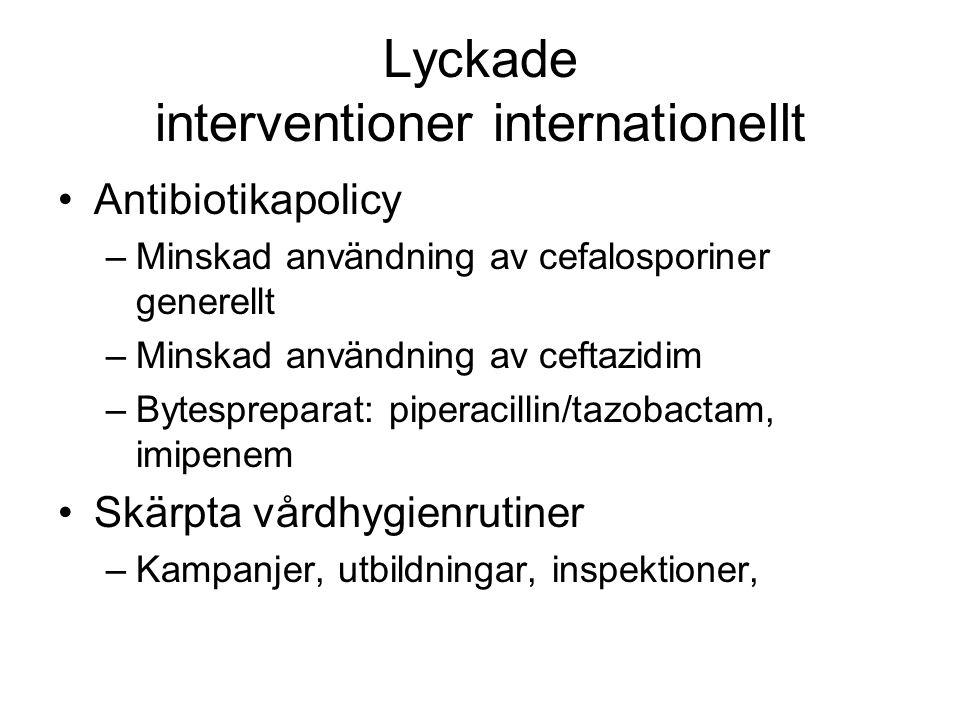 Lyckade interventioner internationellt Antibiotikapolicy –Minskad användning av cefalosporiner generellt –Minskad användning av ceftazidim –Bytesprepa