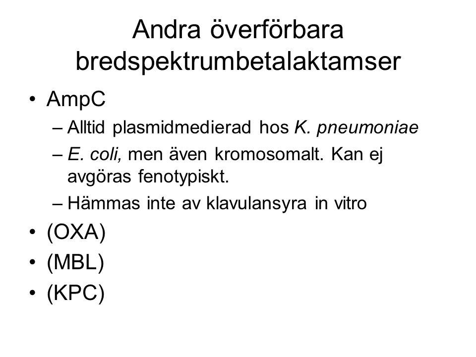 Andra överförbara bredspektrumbetalaktamser AmpC –Alltid plasmidmedierad hos K. pneumoniae –E. coli, men även kromosomalt. Kan ej avgöras fenotypiskt.