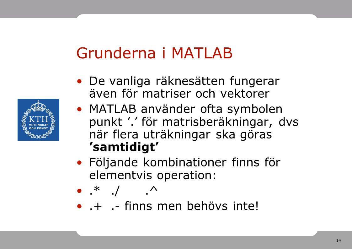 14 Grunderna i MATLAB De vanliga räknesätten fungerar även för matriser och vektorer MATLAB använder ofta symbolen punkt '.' för matrisberäkningar, dvs när flera uträkningar ska göras 'samtidigt' Följande kombinationer finns för elementvis operation:.*./.^.+.- finns men behövs inte!